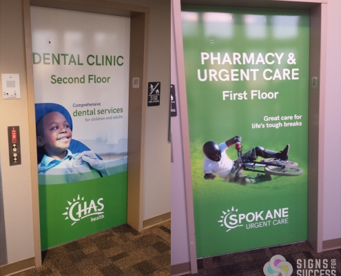 Elevator Door Wrap for CHAS Medical Facility