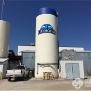Storage tank logo sign, vinyl graphics