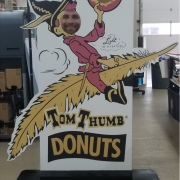 Photo Standee for Tom Thumb Donuts Contour cut PVC