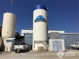 Storage tanks graphics, vinyl wrap, logo decal at new Litehouse factory location