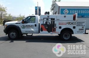 Norlift truck wrap, fleet advertisng graphics in Spokane