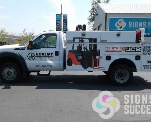 Norlift truck wrap, fleet graphics in Spokane