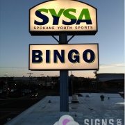 Backlit Sign Panels for SYSA Bingo Spokane