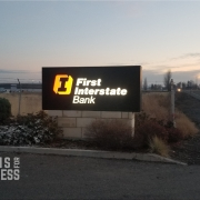 Monument Sign in Airway Heights WA features cabinet with solid black aluminum face with push thru acrylic letters