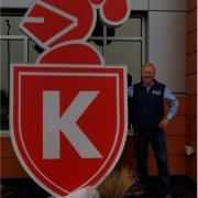 giant logo lighted sign, custom shape lighted signs for Knight Construction companies