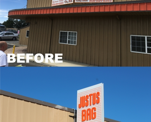 Warehouse roof mounted panel sign with molded plastic letters, outdoor business signs
