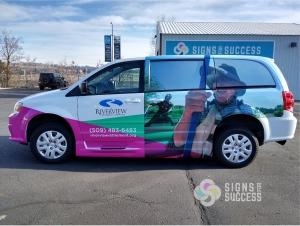 Shuttle Van 3M vinyl wrap for Riverview Retirement Center, van wrap