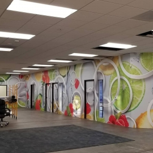 Rings and Fruit 3D design for wall mural