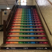 staircase graphics, stair decals at Chicago Academy Elementary