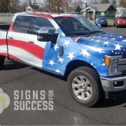 Patriotic Flag wrap on Ford F350