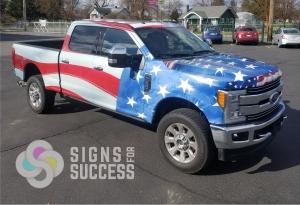 Patriotic Flag wrap on Ford F350