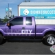 embossed truck wrap, logo embossing with matte purple metallic truck wrap