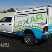 Partial vehicle wrap on Dodge pickup for Lexar Homes