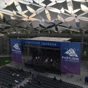 Large Mesh Banners for Concert stage at Spokane Riverfront Park Pavilion