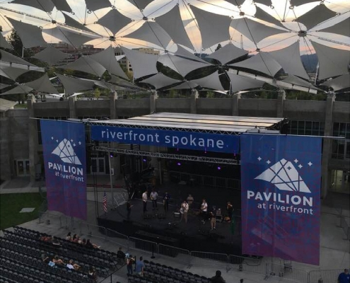 Large Mesh Banners for Concert stage at Spokane Riverfront Park Pavilion, mesh stage banners