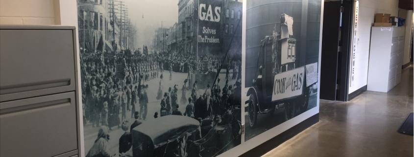 indoor wall murals add interest to the Avista Jimmy Dean Center in Spokane