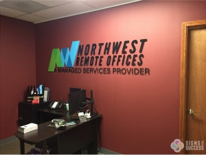northwest remote offices custom lobby sign dimensional letters