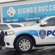 Custom Reflective graphics install on Police Vehicle for Spokane Tribe