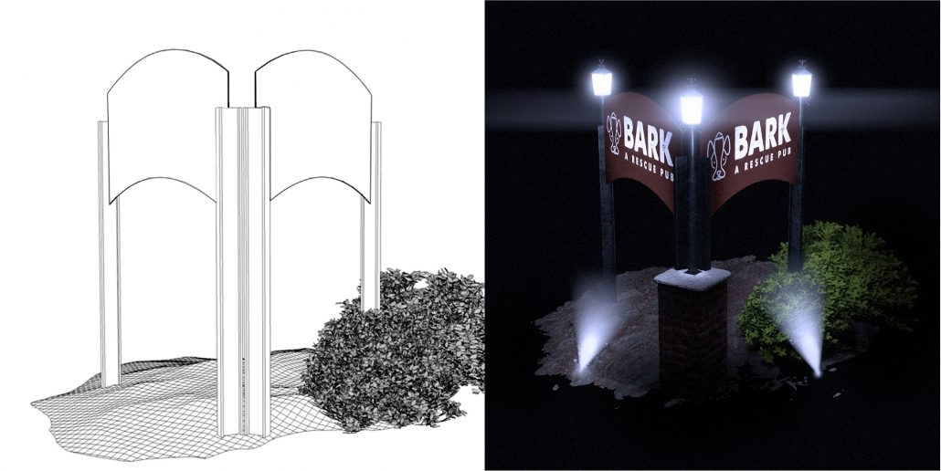 Bark Resue Sign Design & Renderings